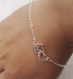 1pcs dropshippin Sweet silver Plated Lovely HEARTand paw Bracelet Love heart friendship Mother and Child Anniversary bracelet - onlinejewelleryshopaus