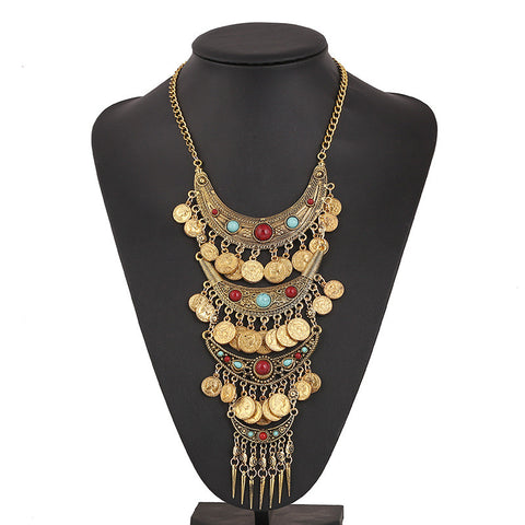 2017 Wholesale Necklace Fine Jewellery Long Tassel Vintage Bohemian Collar Choker Necklace 2 Power Maxi Statement Necklace Women - onlinejewelleryshopaus