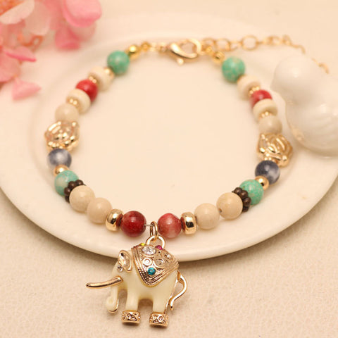 Cartoon Elephant Strand Bracelets Women Handmade Ethnic Color Natural Stone Beads Bracelets Christmas Gift For Girls - onlinejewelleryshopaus