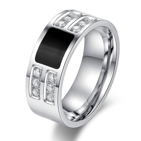 Men's Ring Jewelry wholesale Stainless Steel Beauty Crystal Mens Ring With CZ Stone Male Cool Party Jewelry - onlinejewelleryshopaus