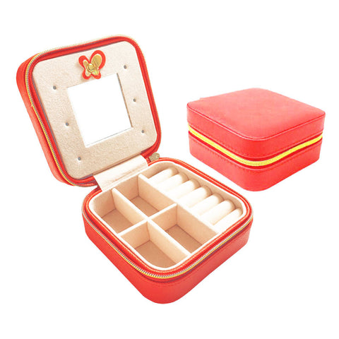 Fashion Mini Jewelry Box Travel Leather Cosmetic Casket Ring Earring Lipstick Organizer Gift for Girl Mirror Makeup Box - onlinejewelleryshopaus