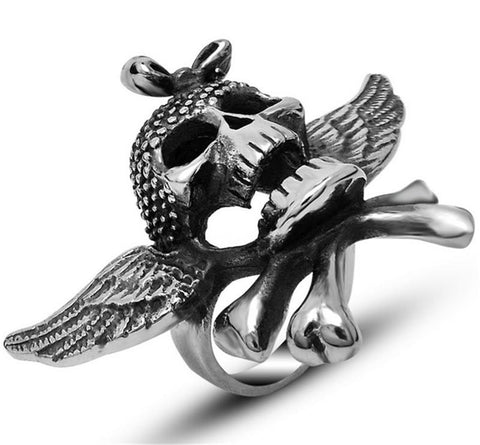 Gothic Cheap Winged Women and Men Vintage Wing Skull Ring steel stainless ring Cool Punk Biker Skull Ring Sale Hot - onlinejewelleryshopaus