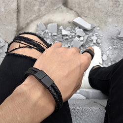 Top Quality Genuine Leather Bracelet Men Stainless Steel Leather Braid Bracelet With Magnetic Buckle Clasp pulseiras masculina - onlinejewelleryshopaus