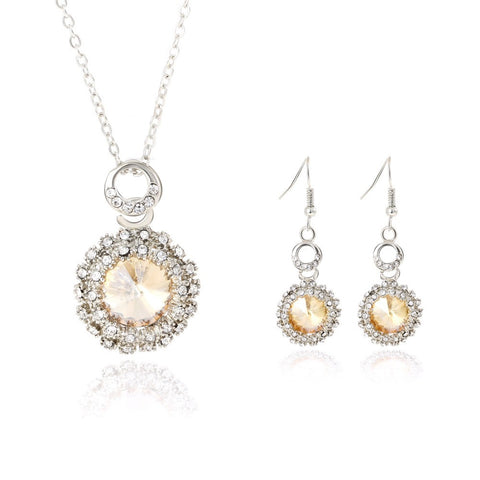 free shipping round Champagne crystal Silver jewellery set earrings necklaces jewelry sets for women conjuntos de joyeria - onlinejewelleryshopaus