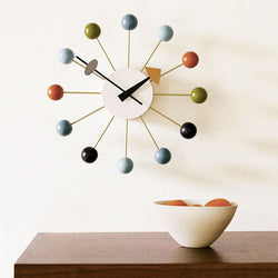 Top Quality 14 inch Multi Colored Wooden Ball Clock Factory Sale Living Room Decoration Quartz Round Wall Clock - onlinejewelleryshopaus