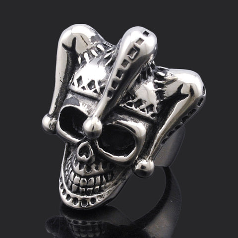Men Jewelry Silver Plated Rock Style Clown Hat Skull Ring For Men's Stainless Steel Fine Biker Jewelry Party Gift BR434 - onlinejewelleryshopaus