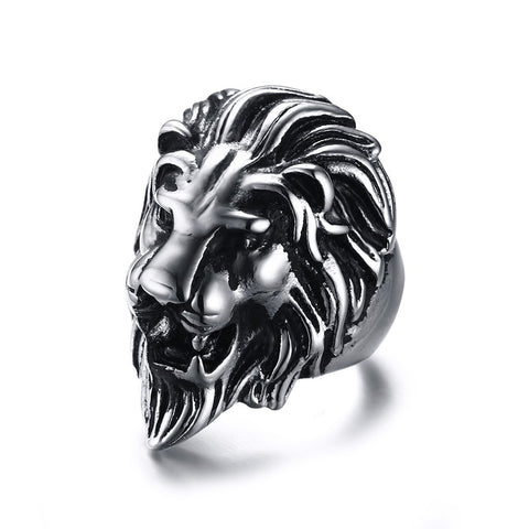 Mprainbow Men's Sliver Black Tone Polished Stainless Steel Lion Head Ring for Men Jewelry - 36mm Wide - onlinejewelleryshopaus