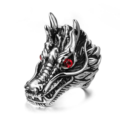 Mprainbow Mens Vintage Gothic Dragon with Red Zircon Eyes Rings For Men Stainless Steel Punk Party Jewelry - onlinejewelleryshopaus