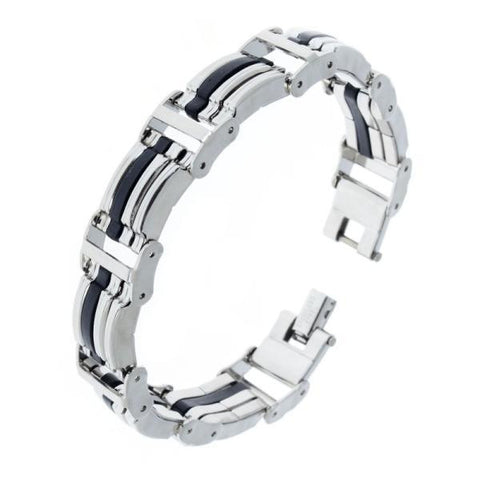 16 Styles Mens Chain Link Wristband Bangle Cuff 316L Stainless Steel Bracelet Rubber Silver Tone Men Jewelry Wholesale Free - onlinejewelleryshopaus
