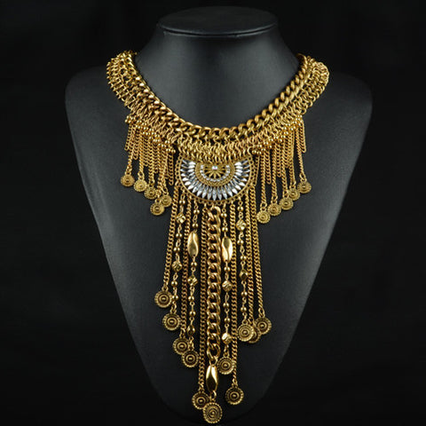 New Design Vintage Maix Necklace Gold/Silver Long Tassel Coin Chokers Statement Necklaces & Pendants Women Crystal Jewelry - onlinejewelleryshopaus
