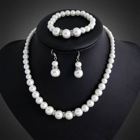 Luxury Indian Accessories Simulated Pearl Chain Necklace and Earrings Women Wedding Bridal Jewelry Sets - onlinejewelleryshopaus