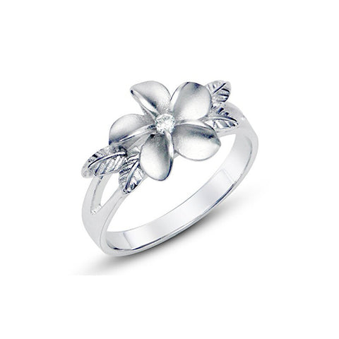Women Ring Jewelry Plumeria Cubic Zirconia CZ w/ Maile Leaf Hawaiian Flower Band Ring Size 5 To 8 - onlinejewelleryshopaus