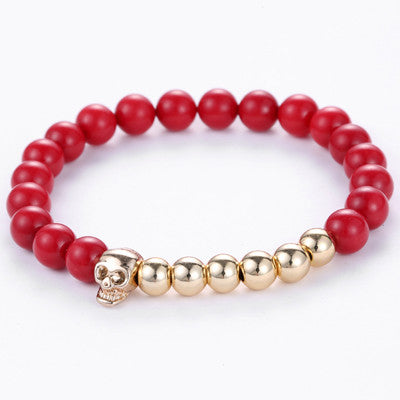 New Design 8MM Red Coral Natural Agate Stone Bracelets Skull Charm Bracelets For Men Jewelry Gift Wholesale Strand Bracelets - onlinejewelleryshopaus