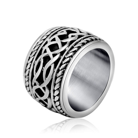 316L Titanium Stainless Steel Mens Rings Vintage Punk Gothic Style Snake Thumb Black Wide Rings For Men - onlinejewelleryshopaus