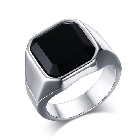 Mprainbow Men's Stainless Steel Signet Ring with Black Agate for Men Jewelry - onlinejewelleryshopaus