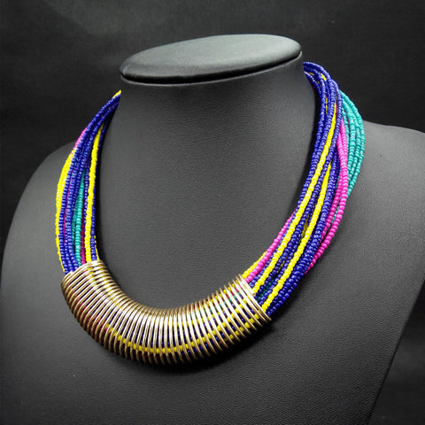 Fashion Bohemian Necklace 2016 Vintage Multilayer Collar Choker Chain Statement Necklace Pendants Handmade Jewelry - onlinejewelleryshopaus