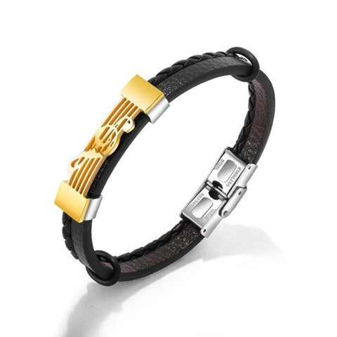 2020 Bracelet Bangle for Men Stainless Steel Music Designer Gold-color Fine Jewelry Leather Boys Jewellery Punk Jewelry