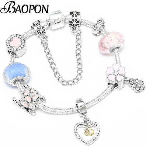 BAOPON 2019 Pink Cherry Blossoms Charm Bracelets&Bangles For Women Fits Fine Bracelets Handmade Snap Button Jewellery