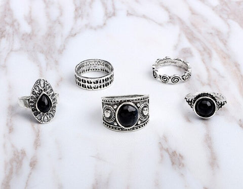 Water Drop Women Ring Set Fine Jewelry Accessories Black Crystal Rings Golden Silver Color Body Jewellery Fashion Finger Rings