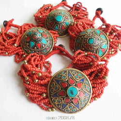 BB-487 Tibetan Jewelry Red mini Beaded Charm Bracelets Nepal Vintage Handamde Ethnic jewelry - onlinejewelleryshopaus