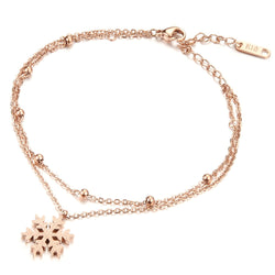Stainless Steel Snowflake Female/Woman Anklets Romantic Rose Gold Plated Link Chain Women Ankle Foot Bracelet Jewelry  KS019 - onlinejewelleryshopaus