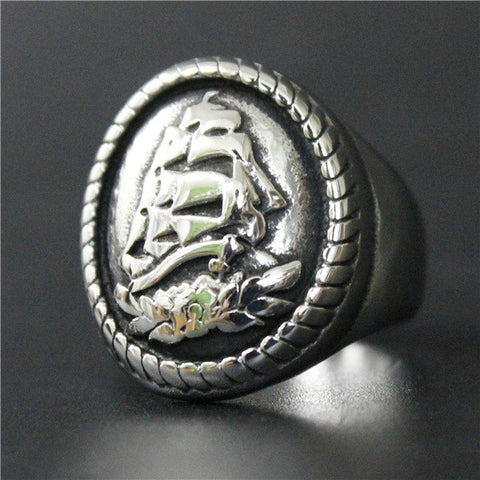 Size 8~13 Fashion Heavy Mens Polishing Sea Ship Ring 316L Stainless Steel Jewelry Newest Biker Ring - onlinejewelleryshopaus