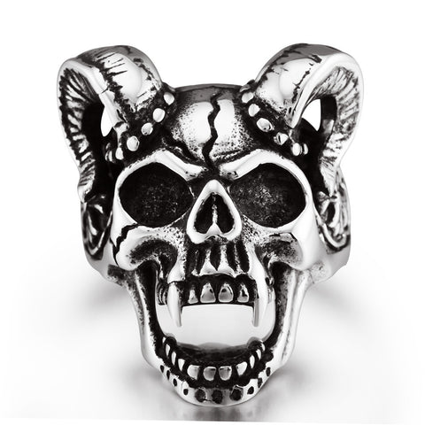 Size 8-13 Evil Damn Skull Vampire Goat Ring 316L Stainless Steel Man Boy Band Party Bull Skull Ring  RI0107 - onlinejewelleryshopaus