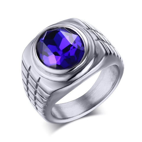 Meaeguet Magic vintage purple stone rings for men silver gold plated stainless steel man ring charming for male jewelry - onlinejewelleryshopaus