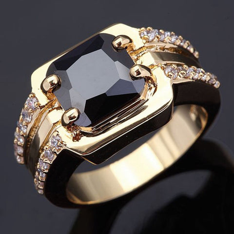 Wholesale Classic Retro men's rings super black zirconia gold jewelry 18 K gold plated rings for men luxury Big male Ring R005 - onlinejewelleryshopaus