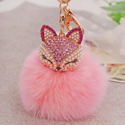 Artificial Rabbit Fur Ball Keychain for Handbag Car Key Ring Cute Fox Inlay Simulated Pearl Pendant Key Chains Amazing - onlinejewelleryshopaus