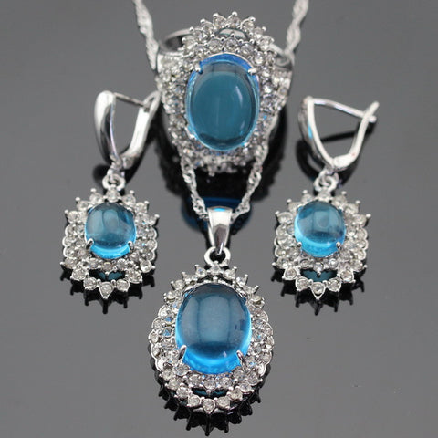 Christmas  Gift Silver Color Light Blue White Crystal Jewelry Sets For Women Drop Earrings/Pendant/Necklace/Rings Free Box - onlinejewelleryshopaus