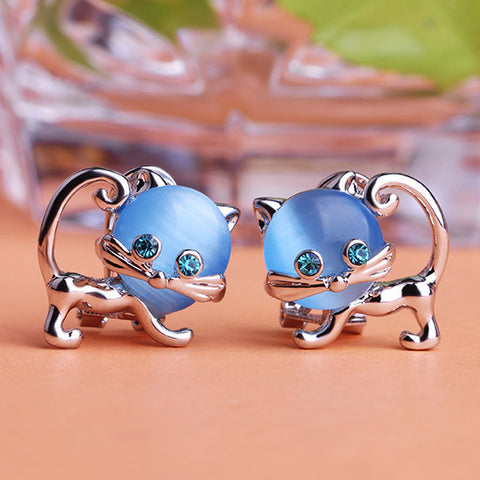 Luxury Brand African Costume Jewelry Colar Cat Eye's Stone Earrings Women Party Accessories Kawaii Cute Gold Brinco Grandes Ears - onlinejewelleryshopaus