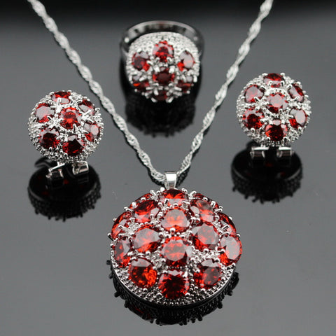 Made in China Huge Created Red Garnet Silver Color Bridal Jewelry Sets Necklace/Pendant/Earrings/Rings For Women Free Gift Box - onlinejewelleryshopaus