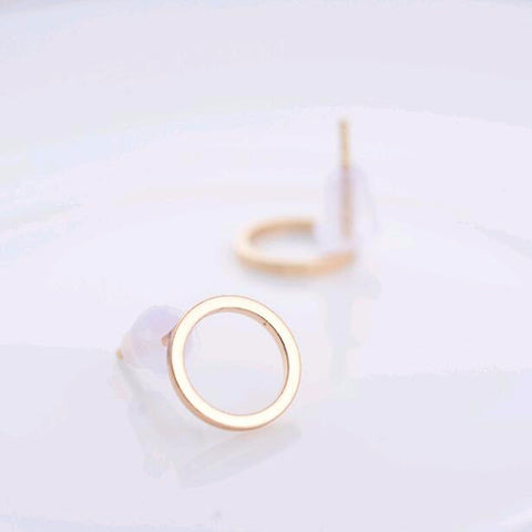2016 Best selling NEW Women Fashion Simple Gold Silver Stud Earring Punk Rock Retro Circle Earring Ear Jewelry Piercing - onlinejewelleryshopaus