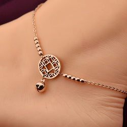 2016 Wholesale Little Bell Anklet Bracelet Rose Gold Titanium Steel Women Girl Lover Barefoot Anklet Fashion Foot Chain Jewelry - onlinejewelleryshopaus