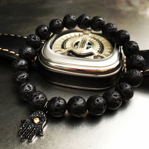 Fashion Luxury Mens & Womens Bracelets Volcanic Rocks Stone Stretch Fatima Hamsa Hand Bracelet Of Mala Evil Eye Bracelets - onlinejewelleryshopaus