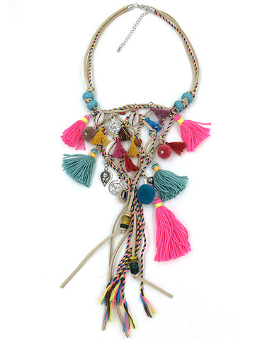 2017 New Boho handmade jewelry past present future Necklaces Bohemia tassel pendant necklace Multi-Layer chorkers Necklaces - onlinejewelleryshopaus