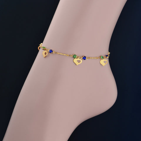 Heart Foot Anklet Cheap Bracelets Gold Plated Summer Jewelry Wholesale Anklet Bracelet Foot Jewelry Cute Link Chain - onlinejewelleryshopaus