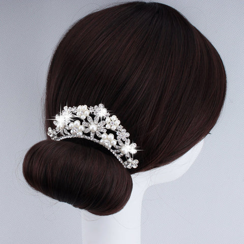 2015 New Arrival Fashion Bridal Wedding Hair Accessories Silver Plated Tiara Crown Hair Comb Pearl Hair Jewelry For Women XLL277 - onlinejewelleryshopaus