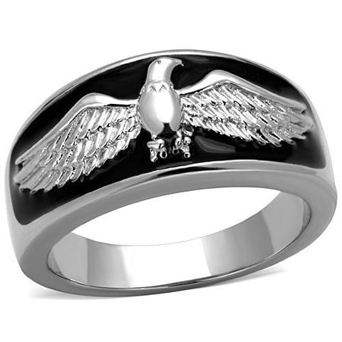 Dc1989 Stainless Steel Men's Ring American Flying Eagle High Polished No Plating Black Epoxy Environmental Friendly Lead Free - onlinejewelleryshopaus