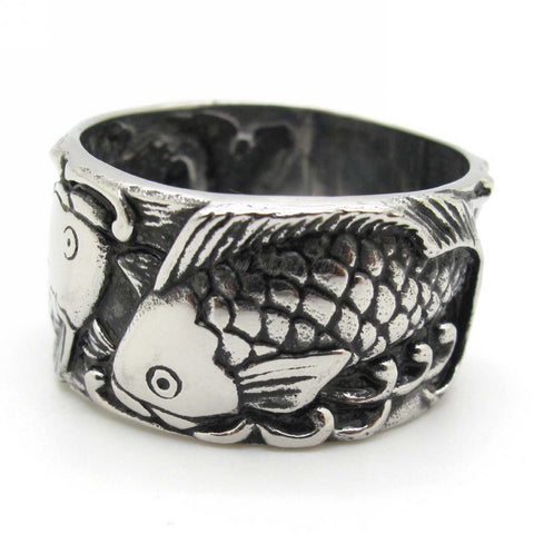 Top Sale Men's Jewelry,New Double Fish Biker Silver 316L Stainless Steel Retro Embossed Fish Rings, Free Shipping - onlinejewelleryshopaus