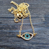 2015 New Rhinestone gold blue turkey  Evil Eye Pendants Necklaces for women  wholesale evil eye necklace pendant - onlinejewelleryshopaus