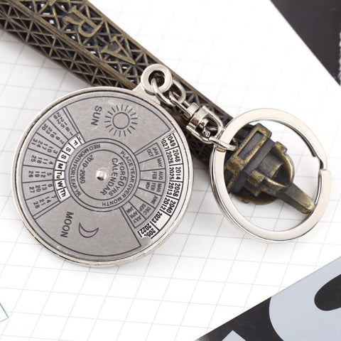 1pc High Quality Super Perpetual Calendar Unique Metal Key Chain Ring 50 Years Keyring KeyChain - onlinejewelleryshopaus