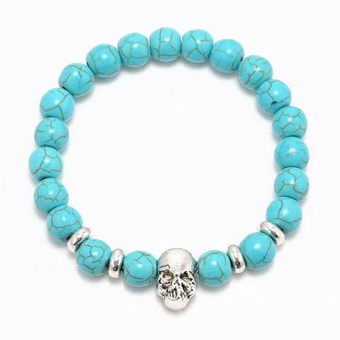 2016 New Fashion Natural Stones Skull Bracelet For Women Lava Stone Beads And Tiger Eye Stone Beads Men Bracelet - onlinejewelleryshopaus