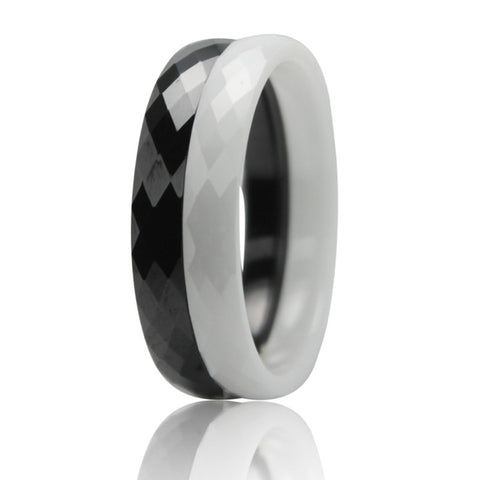 Natural White/Black Ceramic High Quality Fashion Trend Carbon Fiber  Men Women Couple Ring - onlinejewelleryshopaus