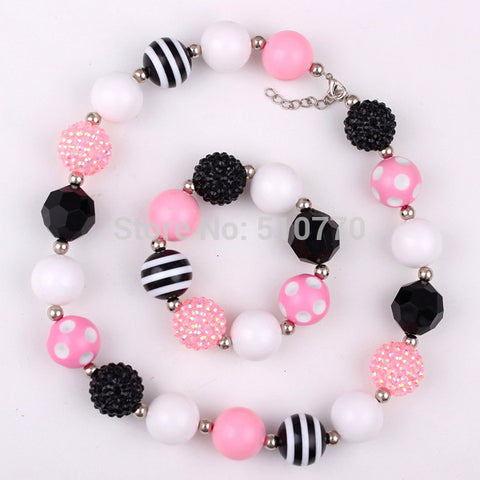 1set children chunky bubblegum necklace bracelet jewelry for child/kid/girl bead necklace for girls DIY jewelry freeshipping - onlinejewelleryshopaus