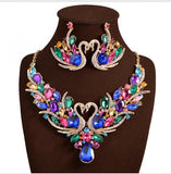 2016 New Africa Wedding jewelry Sets Full Austrian Crystal Swan Necklace Earrings For Women Bridal Jewelry Sets XN-G03 - onlinejewelleryshopaus