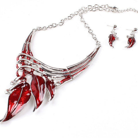 Red Jewelry Set Statement Necklace Enamel Jewelry Stud Earrings for Women Promotion Silver Plated Crystal Jewelry Sets Leaves - onlinejewelleryshopaus