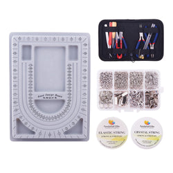 Pandahall Elite Jewelry Making Tool Sets,Plastic Bead Design Board, Elastic Fibre Wire,Crystal String Wire,DIY Jewelry Tool Kit - onlinejewelleryshopaus