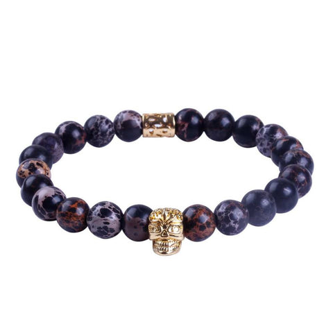 Men Bracelet 2016 New Design High Grade Jewelry 8mm Natural Black Sea Sediment Agate Stone Beaded with Gold Skull Bracelet - onlinejewelleryshopaus